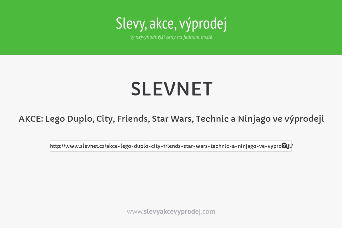AKCE: Lego Duplo, City, Friends, Star Wars, Technic a Ninjago ve výprodeji