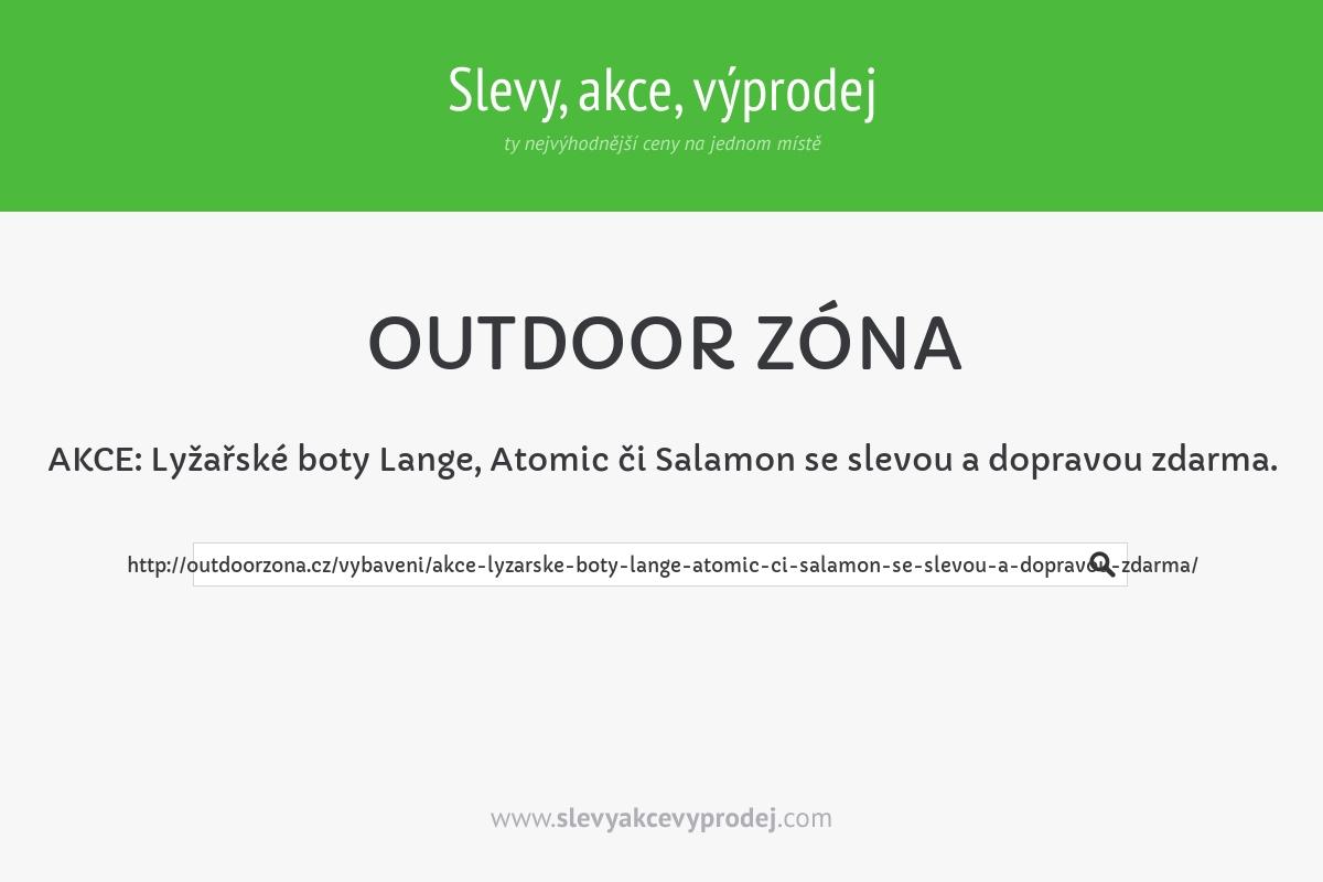 AKCE: Lyžařské boty Lange, Atomic či Salamon se slevou a dopravou zdarma.