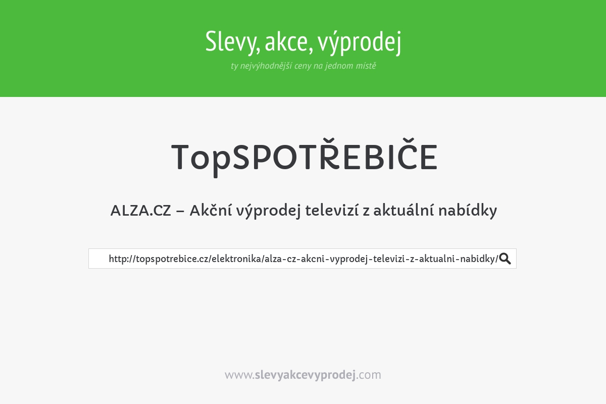 ALZA.CZ – Akční výprodej televizí z aktuální nabídky