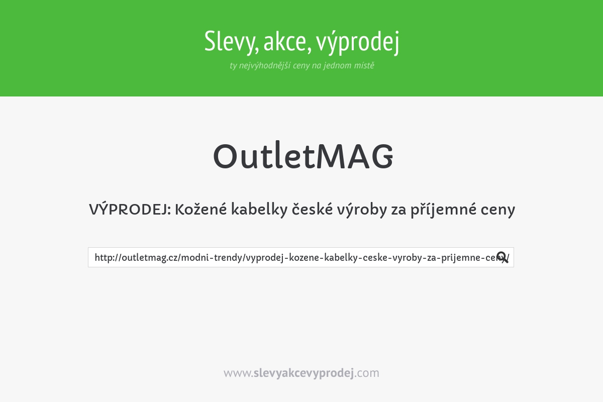 VÝPRODEJ: Kožené kabelky české výroby za příjemné ceny