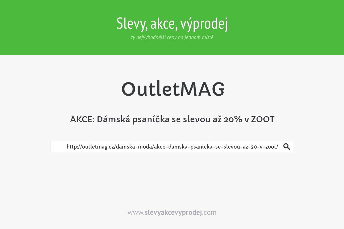 AKCE: Dámská psaníčka se slevou až 20% v ZOOT